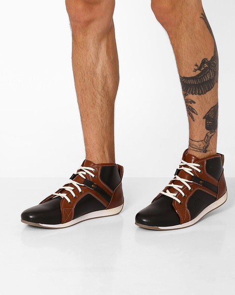 Lace-Up High-Top Casual Shoes By BUCKAROO ( Black )