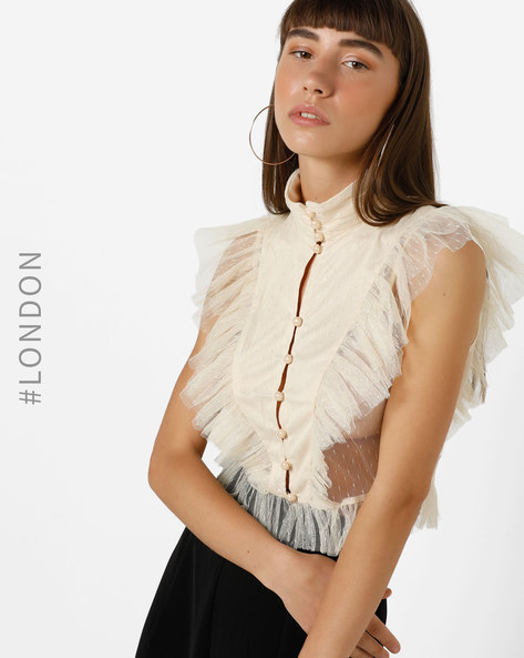 Ruffled Crop Top With Mesh Panels By Glamorous ( Cream )