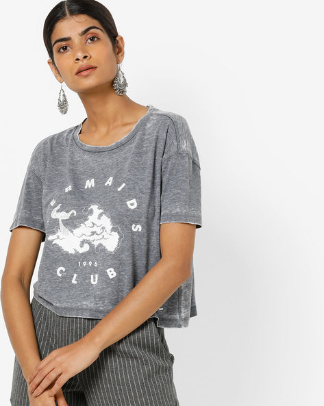 Graphic Print T-shirt With Drop-Shoulder Sleeves By Only ( Indigo )