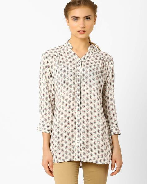 Cotton Printed Shirt By Recap ( Cream )