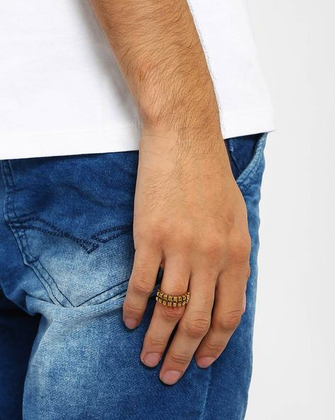 Brass Ring With Carved Detail By Alto Vida ( Gold )