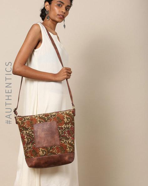 Handblock Kalamkari Kilim Vegan Leather Sling Bag By A BIG INDIAN STORY ( Tan )