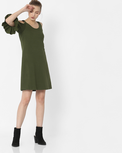 Shift Dress With Cold Shoulders By ANONYMOUS CO ( Green )