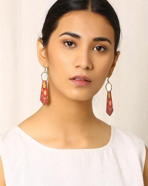 Tie-Shaped Brass Drop-Earrings By Indie Picks ( Multi )