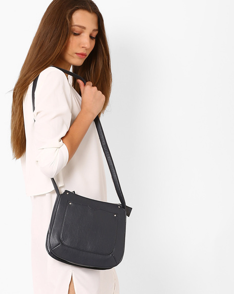Faux-Leather Sling Bag By AJIO ( Navy )