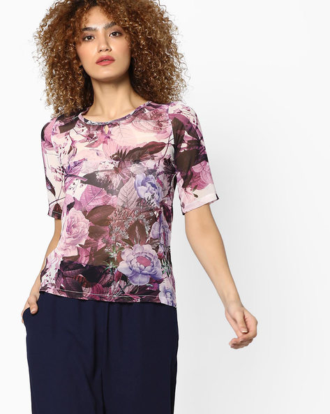 Floral Printed Crew-Neck Top By WRANGLER ( Burgundy )