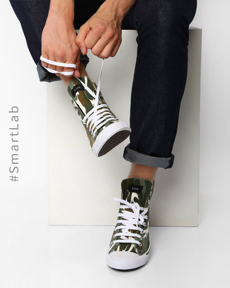 Camo Print N9-Treated Canvas Sneakers By AJIO ( Green )