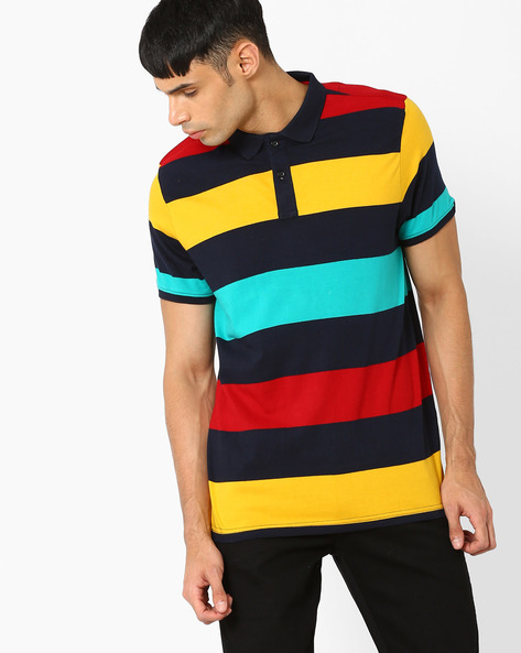 Striped Muscle Fit Polo T-shirt By BASICS ( Navy )