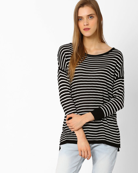 Striped Knit Top With Extended Sleeves By FIG ( Black )