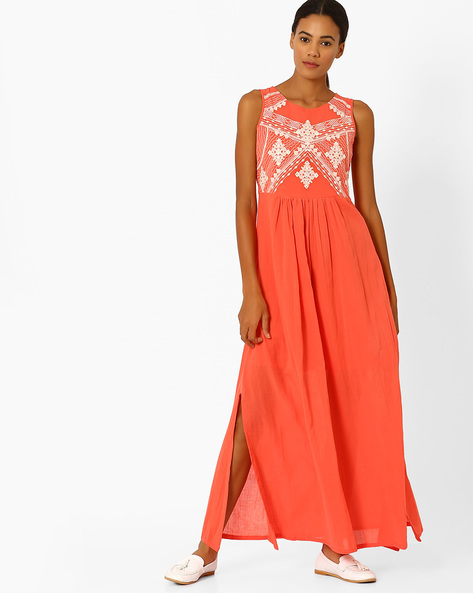 Maxi Dress With Embroidery By Global Desi ( Coral )