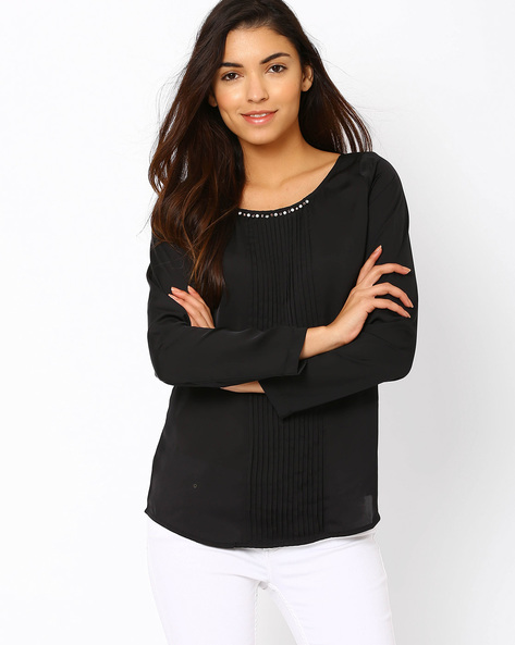 Pintuck Top With Embellishments By Lotus Threads ( Black )