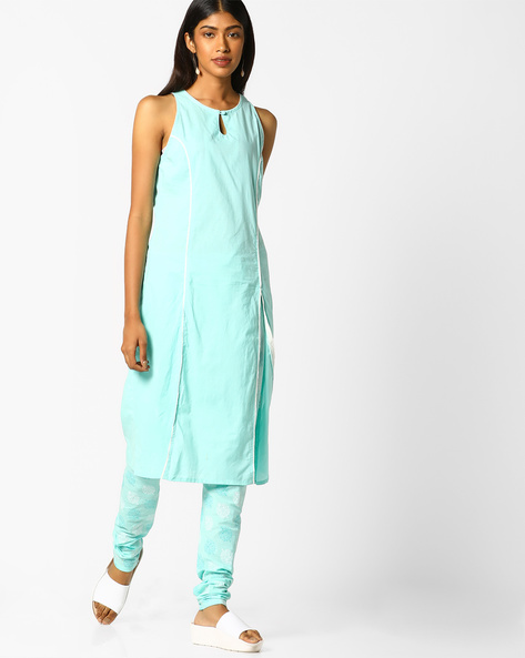 Sleeveless Kurta And Printed Churidar Set By AJIO ( Mint )
