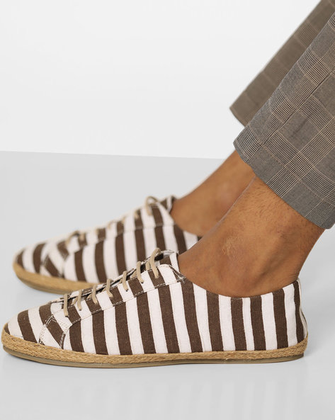 Stripped Lace-Up Espadrilles By Blue Saint ( Tan )