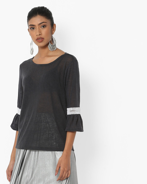 T-shirt With Bell Sleeves By FIG ( Charcoal )