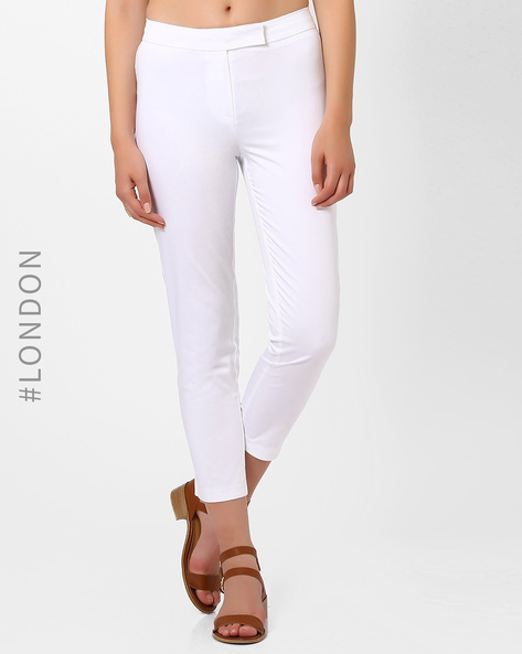 Cropped Cotton Trousers By Marks & Spencer ( White )