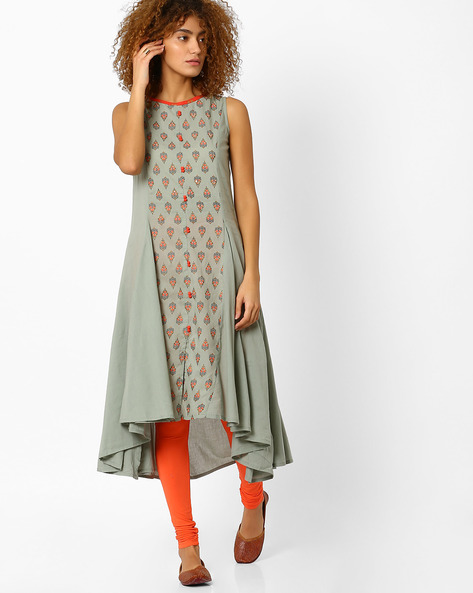 Cotton Kurta With Waterfall Hem By AJIO ( Grey )