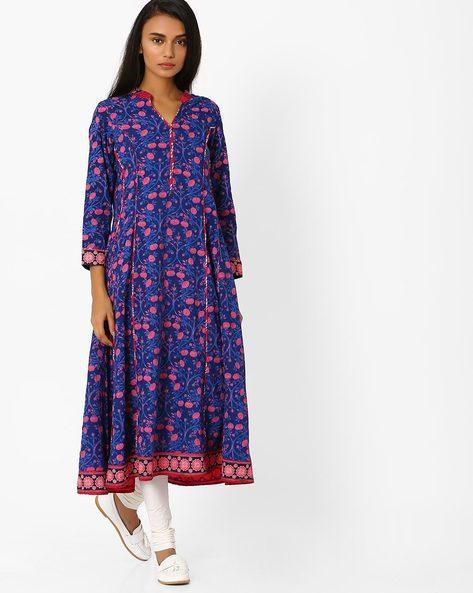 Floral Print Anarkali Kurta By Jiyaa ( Blue )