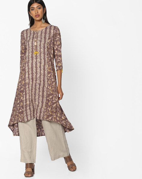 Printed High-Low Kurta By Melange By Lifestyle ( Brown )
