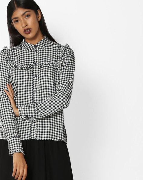 Gingham Check Shirt With Ruffled Trims By Only ( White )