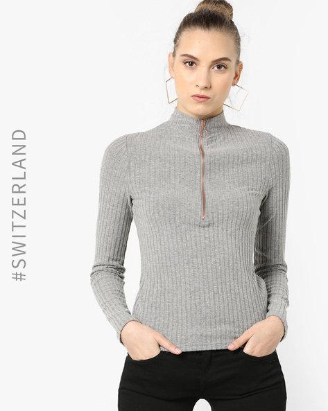 Sweatshirt With Front Zipper By TALLY WEiJL ( Grey )