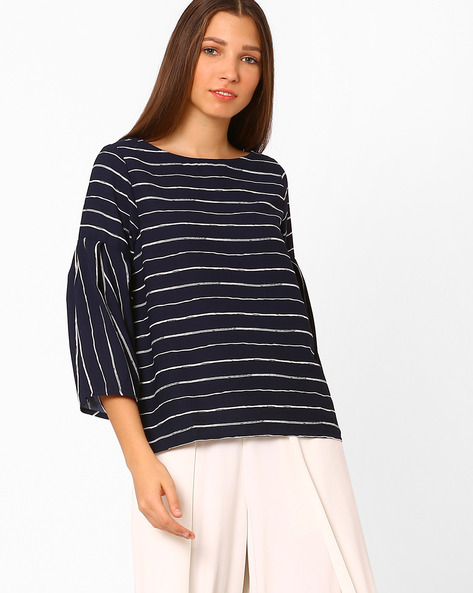 Woven Striped Top By Rena Love ( Navyblue )