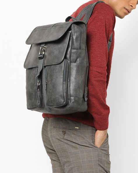 Laptop Backpack With Flap Closure By AJIO ( Grey )