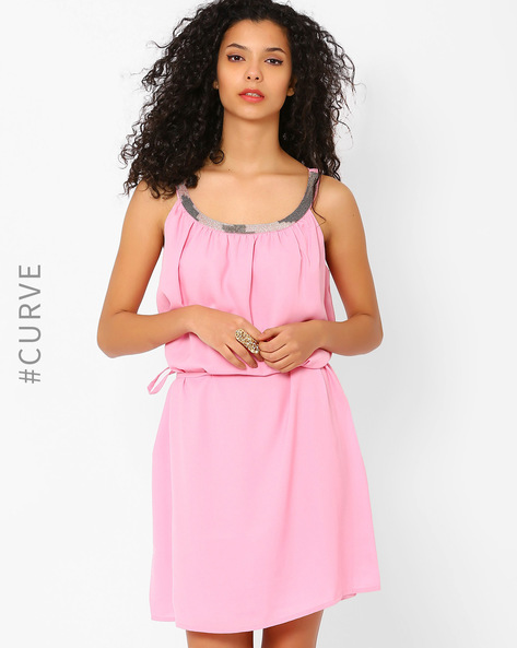 Dress With Embellished Neckline By AJIO ( Pink )