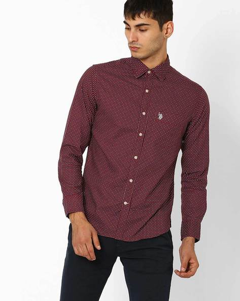 Printed Tailored Fit Shirt By US POLO ( Maroon )