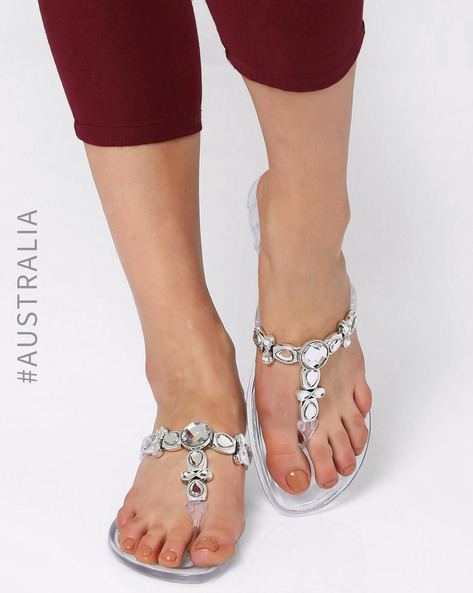 Whimsical Embellished Jelly Sandals By Holster ( Clear )