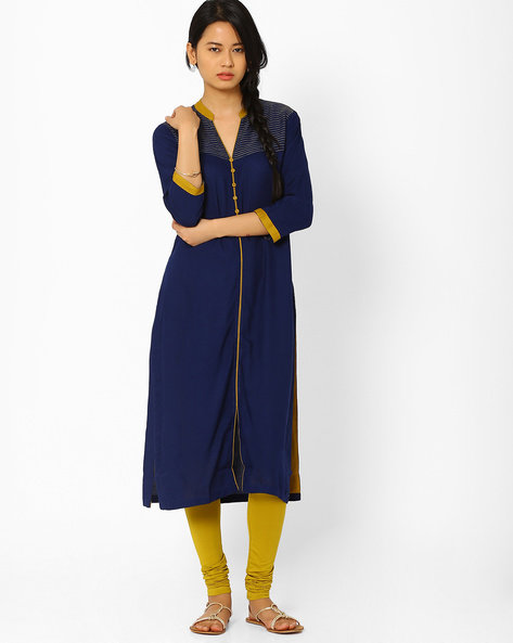 Kurta With Front Slit By AJIO ( Blue )
