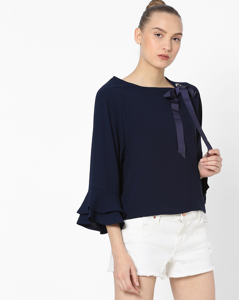 Ruffle-Sleeve Top With Tie-Up By Ginger By Lifestyle ( Navy )