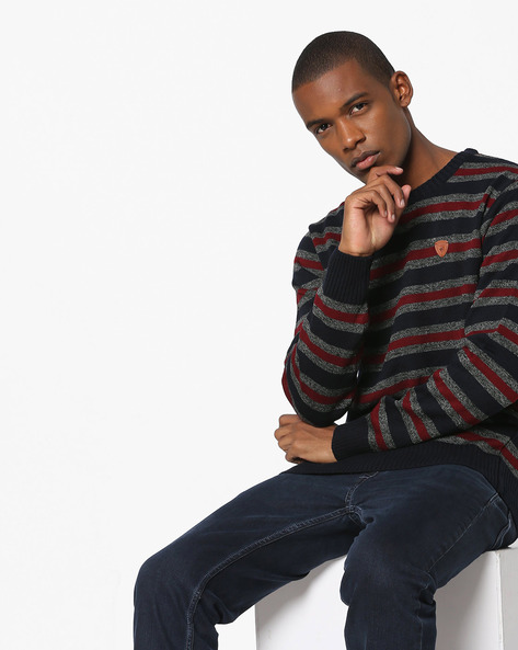 Striped Crew-Neck Sweater By NETPLAY ( Navy )