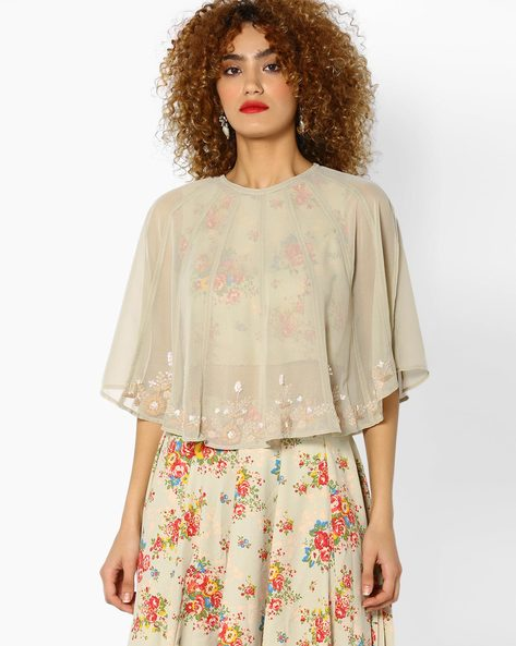Sheer Cape Top With Embroidery By AJIO ( Beige )