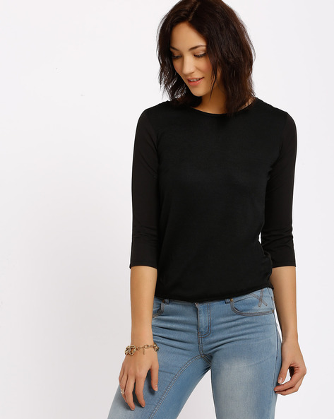 Solid Top By Annabelle By Pantaloons ( Black )