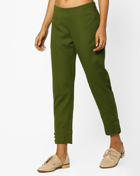 Ankle-Length Pants By AJIO ( Olive )