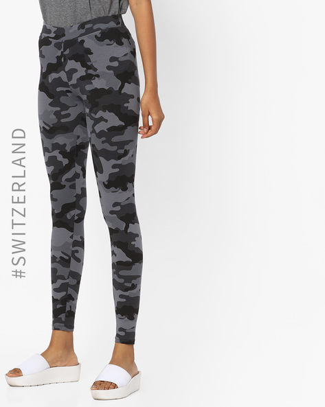 Camo Print Knitted Leggings By TALLY WEiJL ( Grey )