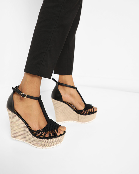 Peep-Toe Wedges With Buckle Closure By AJIO ( Black )