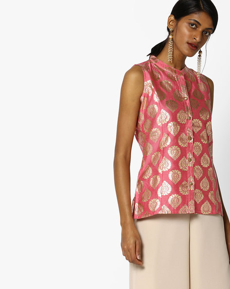 Floral Print Collared Top By Indian Ink ( Pink )