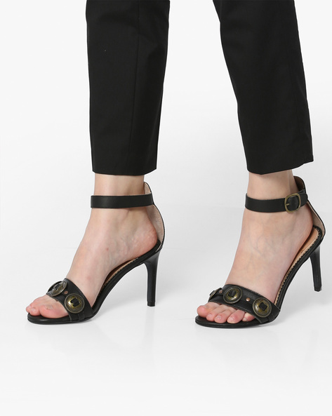 Genuine Leather Heeled Sandals By Carlton London ( Black )
