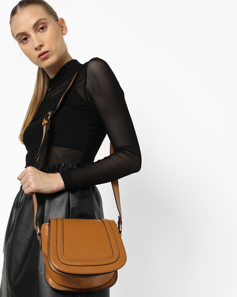 Saddle Sling Bag By Carlton London ( Tan )