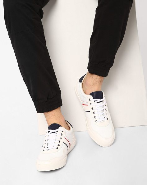 Faux Leather Low-Top Sneakers By AJIO ( White )