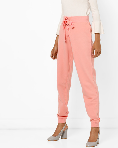 Looper Knit High-Rise Track Pants With Front Tie-Up By AJIO ( Coral )