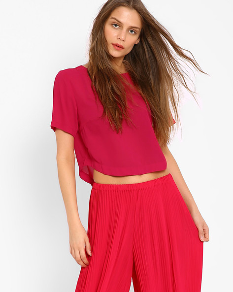 Top With Curved Hemline By AJIO ( Pink )