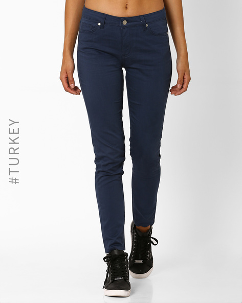 Cotton Slim Fit Trousers By TIFFANY & TOMATO ( Navyblue )