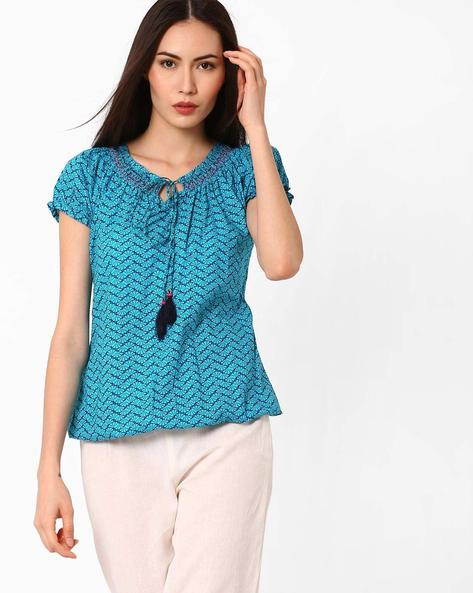Printed Top With Tie-Up Detail By FUSION ( Ltblue )