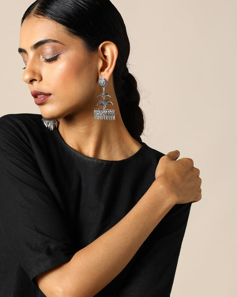 Layered Brass Jhumka Earrings By Studio B40 ( Silver )