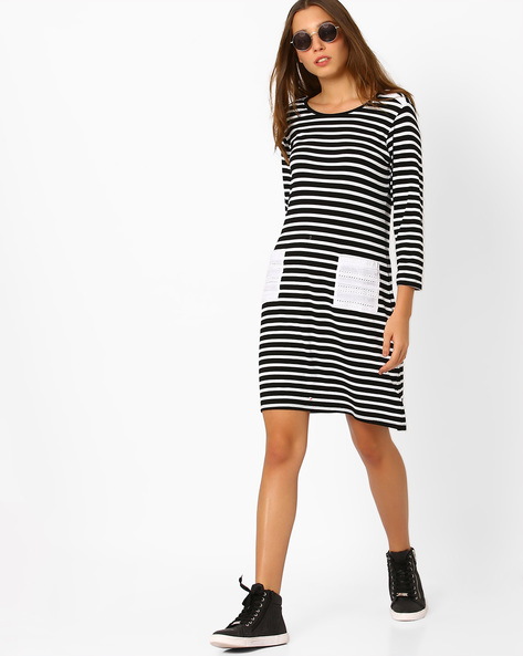 Striped Sheath Dress By AJIO ( Black )