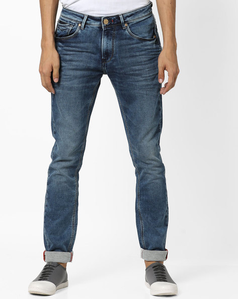 Mid-Washed Skinny Jeans With Whiskers By Killer ( Blue )