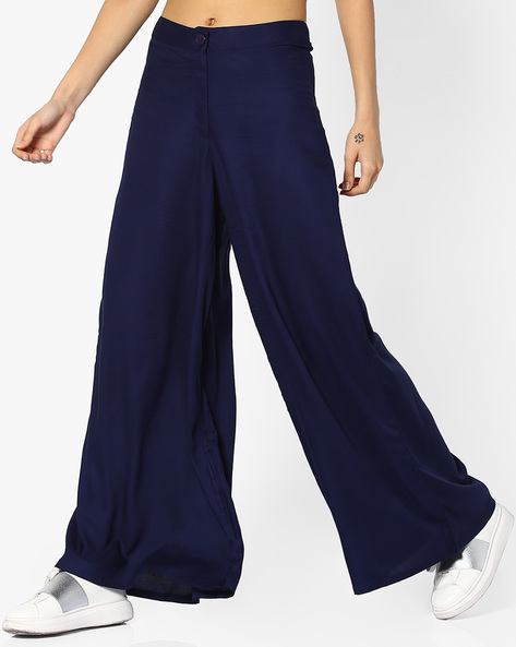 Viscose Palazzo Pants By Global Desi ( Indigo )