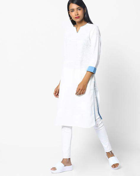 All-Over Print Straight Kurta By AJIO ( Printed )